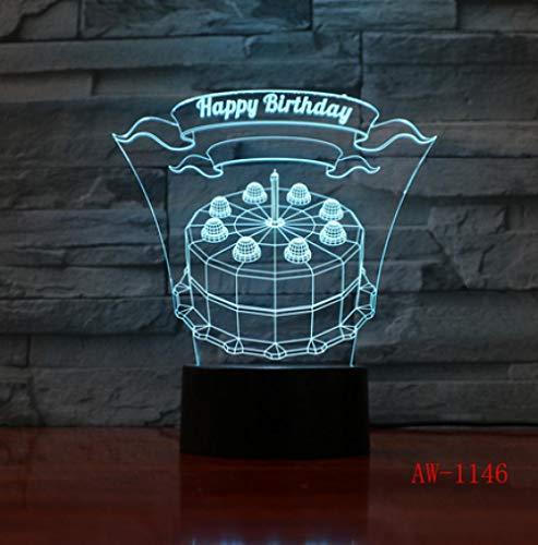 Joplc Alles Gute zum Geburtstag Kuchen LED 3D visuelle Lampe Innen Schlafzimmer Nachtlicht Acryl Schreibtischlampe Liebe vorhanden (Halloween-geburtstag Kuchen-ideen Für)