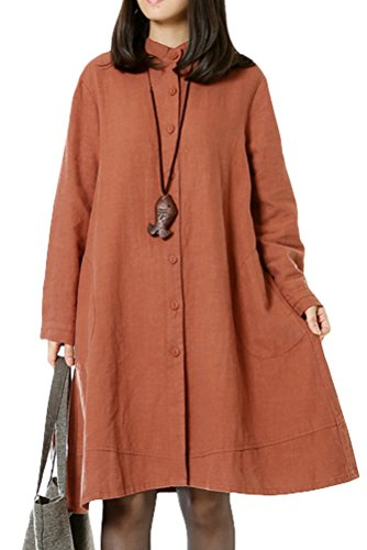 Vogstyle Damen Herbst Baumwolle Leinen Voller vorderer Knopf Blouse Kleid mit Taschen Style 1 X-Large Orange -