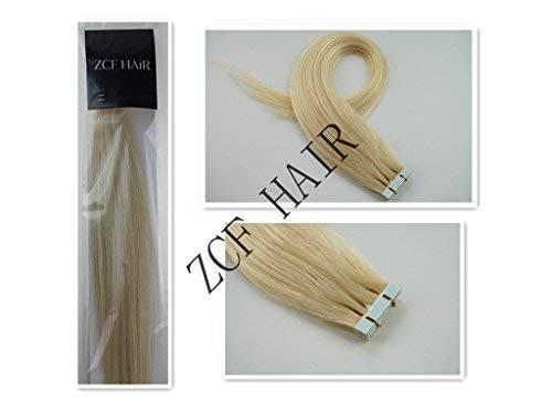 45.7cm Tape-à Vrai Extension Cheveux Humain Droit Couleur 60 Blonde Platine 40g 20 pièces Beauté cheveux Style