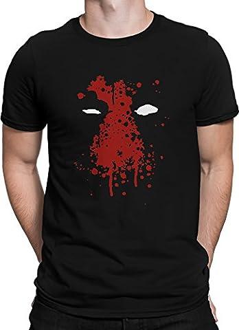Deadpool Blut Gesicht Comic Held Wade Wilson / Premium Fun Motiv T-Shirt XS-5XL mit Aufdruck / Ideales Geschenk, Color:Schwarz,