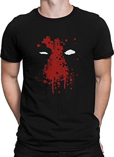 Ohne Superhelden Kostüm (Deadpool Blut Gesicht Comic Held Wade Wilson / Premium Fun Motiv T-Shirt XS-5XL mit Aufdruck / Ideales Geschenk, Color:Schwarz,)