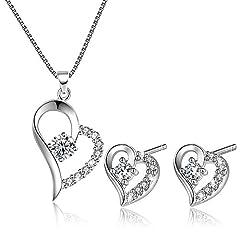 Idea Regalo - E.INFINITY Set di Collana E Orecchini con Pendente Cuore d'Amore, Set di Gioielli Regalo per Lei in Argento Sterling