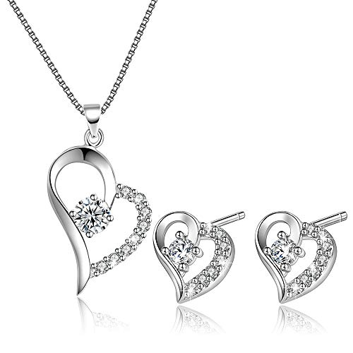 D.INFINITY Liebes- und Herz-Halskette mit Anhänger für Frauen und Ohrringe, Schmuck-Set aus Sterling-Silber für sie