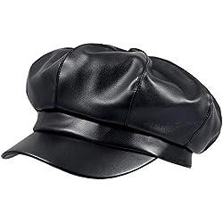 IBFUN Gorras Newsboy para Mujer Cuero Negro PU Visor Boina Ajustable Cabbie Pintor Gatsby Ivy 8 Paneles Newsboys Sombreros Cierre de Banda de Goma