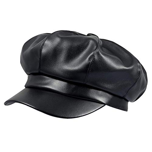 IBFUN Gorras Newsboy Mujer Cuero Negro PU Visor Boina