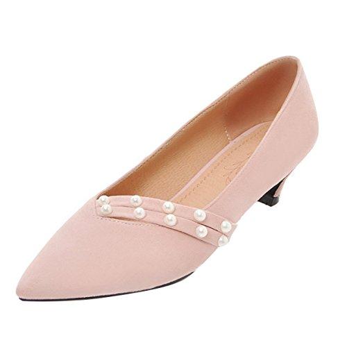 Kitten Heels Pumps mit Perlen Sommer Schuhe Frauen mit Kleinen Absatz Damen Sommerpumps Bequem Rosa 40EU