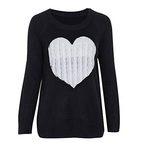 Sunnyuk Damen Pullover t Shirt mit Aufdruck Herz Print Langarmshirt Basic Top Longsleeve Slim Oberteil mädchen Teenager Kleidung Herbst Winter