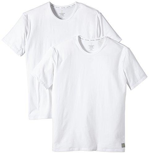 Calvin Klein CK ONE - Cotton Stretch 2 Pack Crew U8509A Herren Unterwäsche/ Unterhemden, Gr. 4 S, Weiß (100) (Klein-crew-t-shirt Calvin)