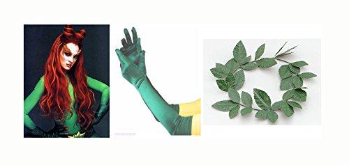 Poison Ivy Green Handschuhe und Kranz-Set Halloween Costumes Damen Kostüm
