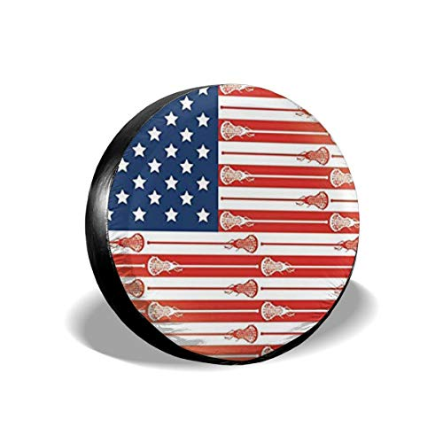 Bag hat USA Lacrosse Sticks Flag Tire Cover Polyester Universal Spare Wheel Tire Cover Wheel Covers Jeep Trailer RV SUV Truck Camper Travel Trailer Accessories 17 inch