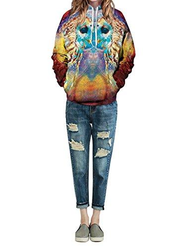 Minetom Unisexe Sweatshirts Femme Homme Impression 3D Sweats à capuche Automne Hiver Manches Longues Sweat-shirts Manteaux Owl