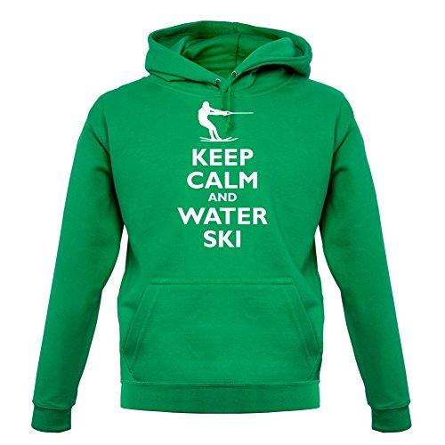 Keep Calm and Water Ski - Unisex Hoodie/Kapuzenpullover - Leuchtend Grün - M