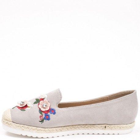 Ideal Shoes - Espadrilles effet daim avec broderie Lania Gris