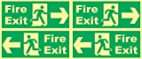 Online Center Signs Night Glow Fire Exit Signage (Set Of 4) - 12 Inch X 5 Inch X 0.12 Inch
