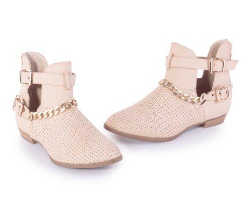 Chaussures pour femme Out Boots Cheville Haute Bottes Avec Boucle Et Chaîne Bottes Bottines pour femme Dentelle Chaussures Beige - Beige