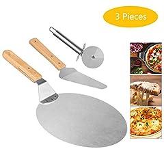 Idea Regalo - Weeygo pala pizza, Pala Pizza rotonda in acciaio inox con pala per manico in legno, trasferimento pala Attrezzi per panetteria per la cottura di pizza e torta su forno e grill