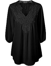 iBaste Plus Size Blusen Damen Lockere Shirt V-Ausschnitt 3/4 Arm Shirt damen Oberteil mit Spitze Shirt Übergrößen