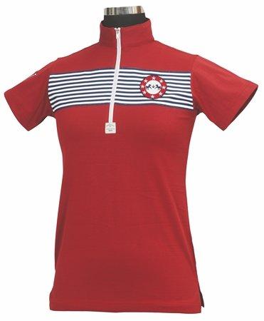 Equine Couture Damen Patriot Short Sleeve Polo, Damen, EC Red, 3X