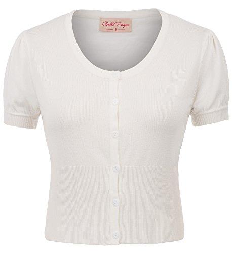 Belle Poque Damens Strickwaren 50s Vintage Bluse Kurzarm weiß Tops 2XL BP707-2