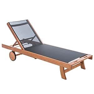 Ultranatura chaise longue en bois textile gamme canberra l gant bois d 39 eucalyptus de qualit - Chaise longue en anglais ...
