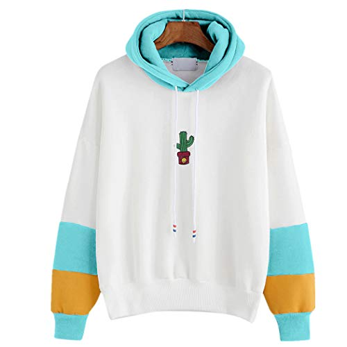 JUTOO Damen Langarm Kaktus Print Hoodie Sweatshirt Kapuzenpullover Tops Bluse(Himmelblau,EU:46/CN:XL)