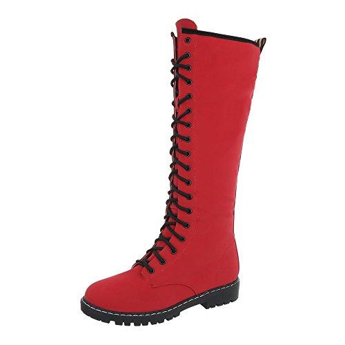 Ital-Design Schnürstiefel Damen-Schuhe Schnürstiefel Blockabsatz Schnürer Reißverschluss Stiefel Rot, Gr 40, Nc132-