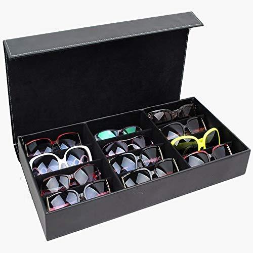 Zhongsufei Sonnenbrille Aufbewahrungsbox Sonnenbrillen Vitrine Sunglass Eyewear Display Storage Case Tray (Farbe : Schwarz) -