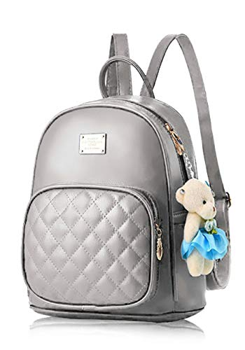 Typify PU Leather Teddy Keychain Backpack for Girls (Grey)