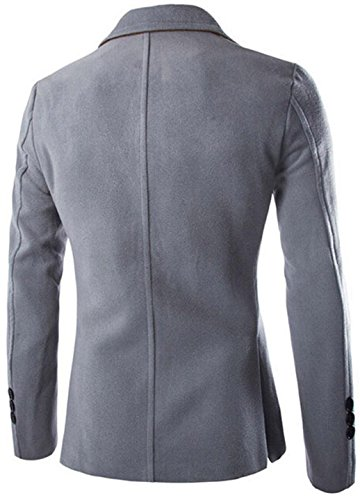 Jeansian Hommes Manteau Leisure Simple Solid Color Furry Suit Jacket 9389 LightGray