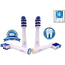 FLM TriZone EB30-4 - Cabezal de recambio para cepillo de dientes eléctrico compatibles con Braun Oral B, 4 unidades