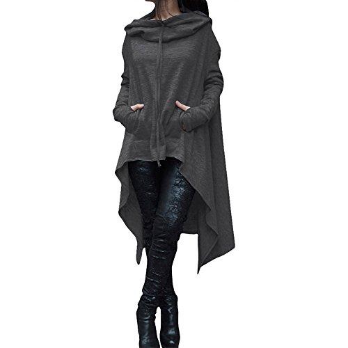 YWLINK Frauen Elegant Asymmetrische Bluse Loser Hoodie Lange Kapuze Oberteile Damen Sweatshirt Pulli Pullover Rollkragen(XL,Dunkelgrau)