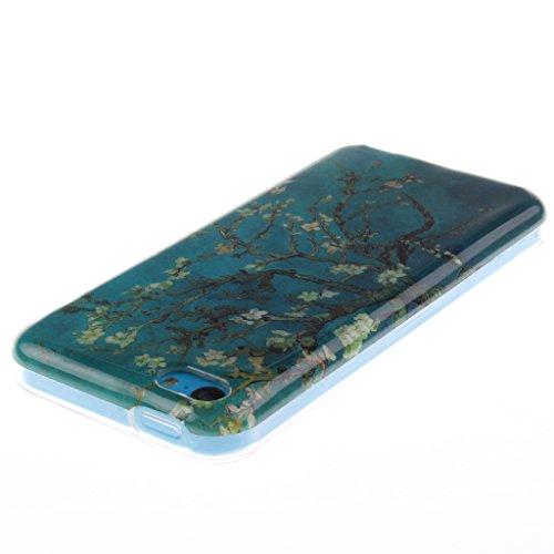"""SsHhUu iPhone 5c Coque, Personality Animal Ultra Slim Doux TPU Flexible Durable Gel Silicone Protecteur Rear Skin Painting Art Étui Housse Case Cover Pour Apple iPhone 5c 4.0"""" Belle fleur"""
