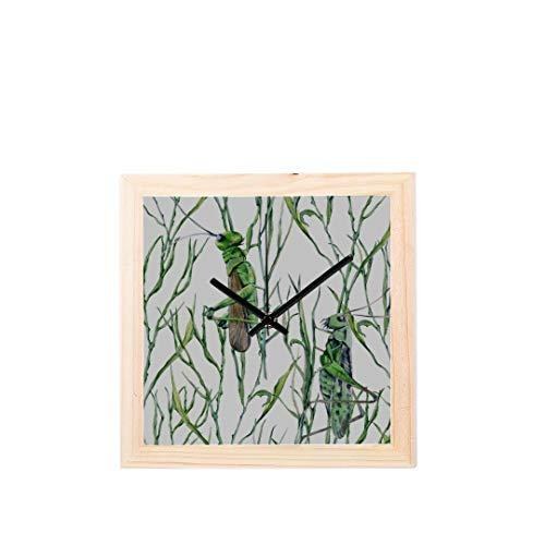 Badezimmer Wanduhr Grasshopper Vivid Cartoon Muster Nicht tickt Square Silent Wooden Diamond Display Wanduhren Malerei Dial Küche Schlafzimmer Dekor Große Wanduhr (Uhr Grasshopper)