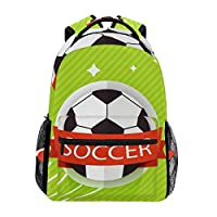 LIUBT Soccer Ball Pattern Casual Backpack Student School Bag Travel Hiking Camping Daypack
