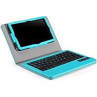 MoKo Amazon Kindle Fire HD 6 2014 Funda - Teclado Inalánbrico Wireless Bluetooth Keyboard Cover Case QWERTY para Amazon Kindle Fire HD 6 Pulgadas 2014 Tablet, Azul Claro