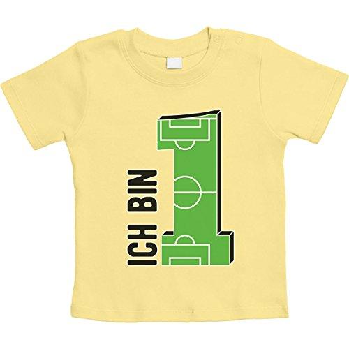 Geschenke Baby 1 Jahr Geburtstag Junge - Fußball Unisex Baby T-Shirt 12-18 Monate / 86 Gelb -