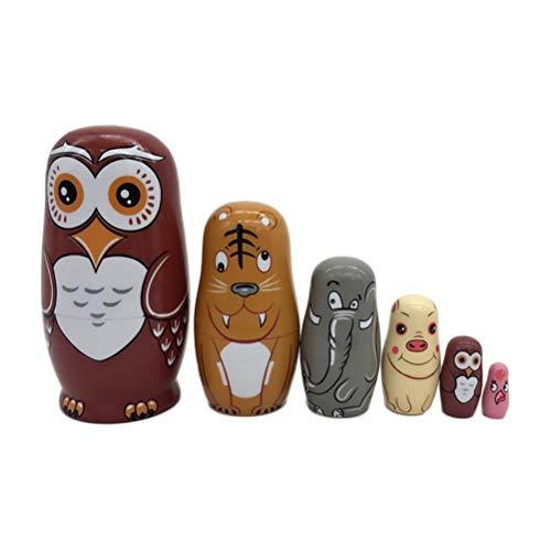 Kostüm Russland Traditionellen - JJSFJH 6pcs Russian Nesting Dolls Russische Puppe Eule Holz Stapeln Spielzeug Puppe Zoo Set Alle Hohl, um ineinander zu passen