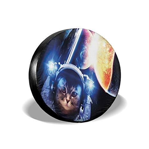 Hshbgiu Tire Cover Tire Cover Wheel Covers,Kitten with Space Suit Planets Nebula Supernova Eclipse Artwork,for SUV Truck Camper Travel Trailer Accessories(14,15,16,17 Inch),Tire Cover Size:17inches -