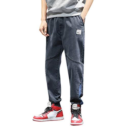 Jeans Pantaloni Larghi a Gamba Dritta in Aderente Lavato Pantaloni da Lavoro Elasticizzati con vestibilità Originale Tasca Slim (XXL,5- Grigio)