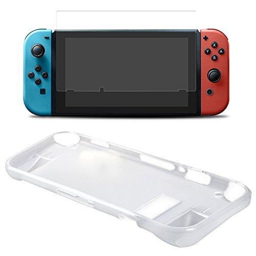 TUTUO per Nintendo Switch 2 in 1 Kit Protettivo Copertura Posteriore Dura Anti-Scratch e Proteggi Schermo (Trasparente)
