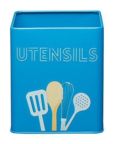 Kitchencraft Art deco-style porta utensili da cucina in acciaio al carbonio, blu, 14x 14x 16cm