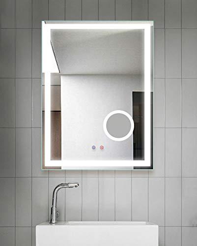 Badezimmer-Wand LED Backlit Spiegel, 3X Lupe mit Licht und Demister und Sensor,Weiß