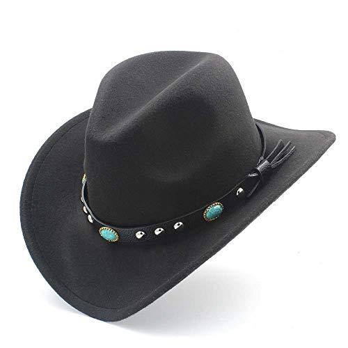 Mamrar Damen Vintage Hut Wollfilz Unisex Western Cowboy Hut breitkrempige Cowgirl (Farbe : Schwarz, Größe : 56-58CM)