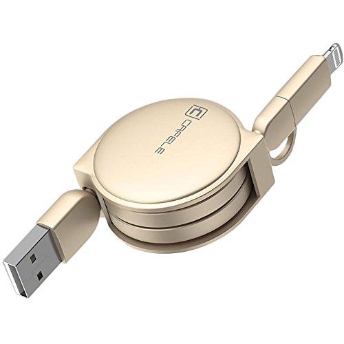 2 in 1 Einziehbares USB-Kabel für Apple IOS / Android, Cuitan 1m Retractable Datenkabel Ladekabel Charging Cable Lightning Kabel Aufladekabel für iPhone 7, 7plus, 6s Plus, 6s, 6, 6 Plus, 5s, iPad mini, iPad air, Samsung S7, S7 Edge, S6, S6 Edge, HTC, LG - Gold(Stil 2) (Usb Retractable Cable Lightning)