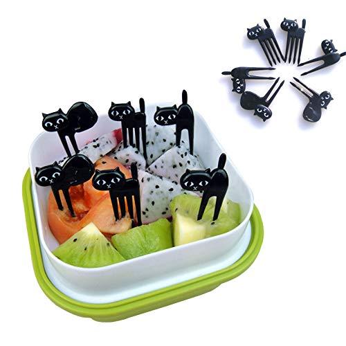 EgBert 6Pcs Mini Animale Forchetta Frutta Raccoglie Carino Cartoon Nero Gatto Bambini Forcella Stuzzicadenti Bento Pranzo Box Decor Accessori