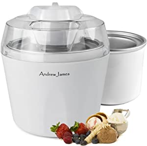 "Andrew James Ice Cream, Sorbet and Frozen Yoghurt Maker Machine 1.45 Litre With Additional/Spare Freezable Ice Cream Bowl + 128 Page Recipe Book - As voted ""Best Buy"" Ice Cream Maker By Which Magazine"