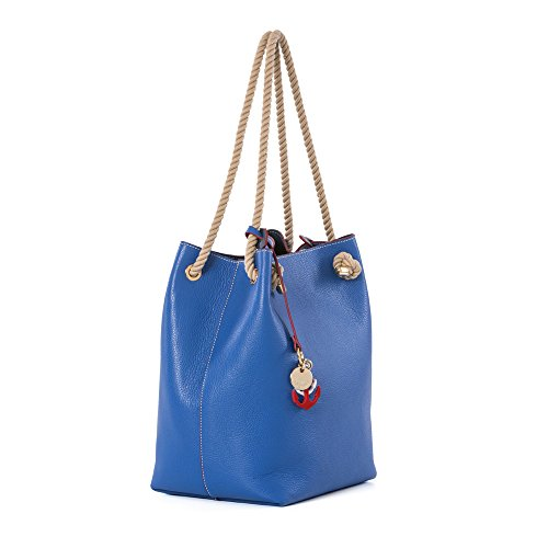 Épaule sac hobo nautique Arcadia cuir sac à main avec la poignée de la corde - bleu (bleu) bleu