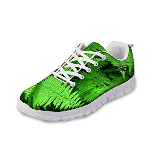 AXGM Turnschuhe Laufschuhe Running Schuhe Trekkingschuhe Herren Trail Leichte Stoßfest Grüne Farn Pflanzen Mode Sport Sportlich Turnschuhe Für Gym Walking Hiking Trekking Jogging 2CC3 EU 42 (Pflanzen Sportliche)