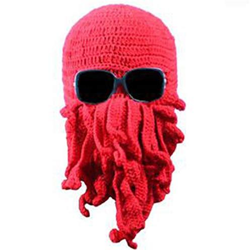 Winter Hut Frauen/Männer Neuheit Handgemachte Strickwolle Lustige Bart Octopus Hüte Caps Crochet Knight Mützen Für Männer Unisex Geschenk red (Winter Hüte Crochet Womens)