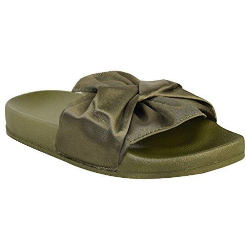 Damen Schlappen mit flacher Gummi-Sohle - Zierschleife aus Satin - Satin Khakigrün - EUR 40